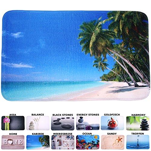 Badteppich, viele schöne Badteppiche zur Auswahl, hochwertige Qualität, sehr weich, schnelltrocknend, waschbar (50 x 80 cm, Karibik) (Blau Bad-teppich Gelb)