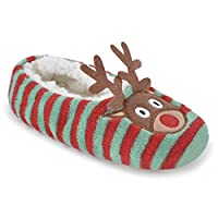 SlumberzzZ Womens Xmas Embroidered Fleece Ballet Slippers