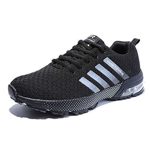 Damen Herren Laufschuhe Sportschuhe Turnschuhe Trainers Running Fitness Atmungsaktiv Sneakers(Pures Schwarz,Größe 47)