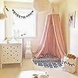 SevenD Dosel Para Cama Infantil Algodón Cúpula, Princesa de Dosel de la Cama, Mosquitera Para Cuna Niña, Cambio de Imagen Chicas Dormitorio Altura 240cm (Rosa)