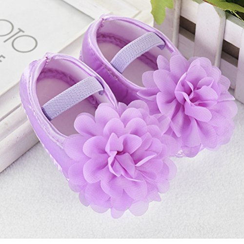 Zhhlinyuan Cute Girls Baby Soft Sole Shoes Toddler Silk Crib Shoes Princess shoes Purple&Floral