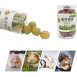 KOBWA Kleintiere Kauenspielzeug, Hamstersnacks mit Bio-Graszähnen Schleifen Molarkugel für Kaninchen Chinchillas Meerschweinchenhörnchen, 200g