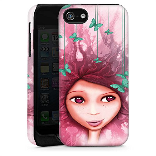 Apple iPhone 5s Housse Étui Protection Coque Fille Papillon Rose Violet Cas Tough brillant