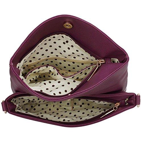 LeahWard® Damen Klein Größe Kreuzbeutel Damen Essener Schultertasche Handtaschen Bote 371 A-Lila