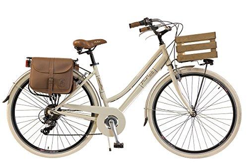 6 Fahrrad Kassette Geschwindigkeit (Via Veneto by Canellini Damen Citybike CTB Vintage Stil Rad Cityrad Fahrrader Bike Aluminium mit Korb Kassette (Beige, 46))