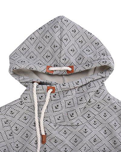 StyleDome Female Hoody Winter Sweatshirt Langarm Jumper Casual Hohe Kragen Pocket Pullover Kurze Jacke Tops Outwear Grau465887