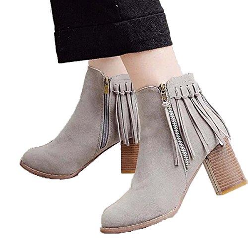 Donne Chunky Block Heel Chelsea Stivaletto Stivali Suede Tassel Taglia Caldo Freddo Stivaletto EU35-40 Gray