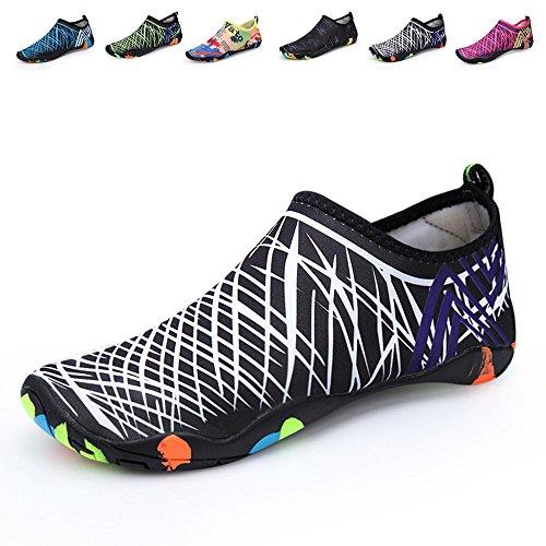 Santiro Unisexe Chaussures de Sport Aquatique Chaussons de Surf / Plong¨¦e / Plage Piscine Beach Natation Gym Yoga Les Amants de Skin Shoes.SSD009W1-4XL