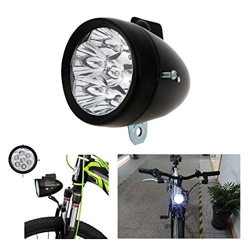 yosposs Classic Fahrrad Scheinwerfer (7LEDs) mit Halterung  Vintage Retro Fahrrad Front Light Lamp, DIY Design Night Ride Sicher Fahrrad Scheinwerfer (schwarz)