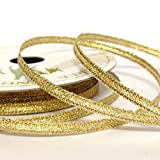 5M Metallic Gold Ribbon (thin) 3mm Wide. Decorative Ribbon For Christmas Gift Wrapping, Card Making, Crafts and Scrapbooking.