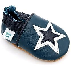 Dotty Fish - Zapatos de cuero suave para bebés - Niños - Azul con estrella blanca - 20