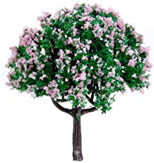 Generic 20pcs 2.5 inch Scenery Landscape Train Model Trees w/ Pink Flowers - Scale 1/100