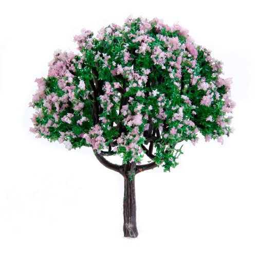 20pcs-25-inch-scenery-landscape-train-model-trees-w-pink-flowers-scale-1-100