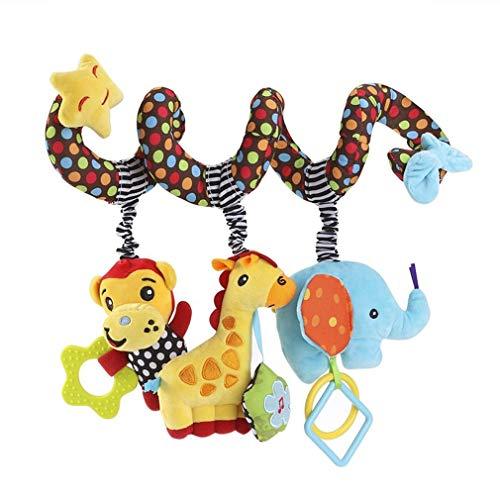Baby Spiral Kinderwagen Spielzeug Plüsch Affe Giraffe Elefant Lehrreich Hängendes Rassel Spielzeug zum Autositz Kinderbett Mobile von SamGreatWorld - Kinderwagen Baby-affe-autositz Und