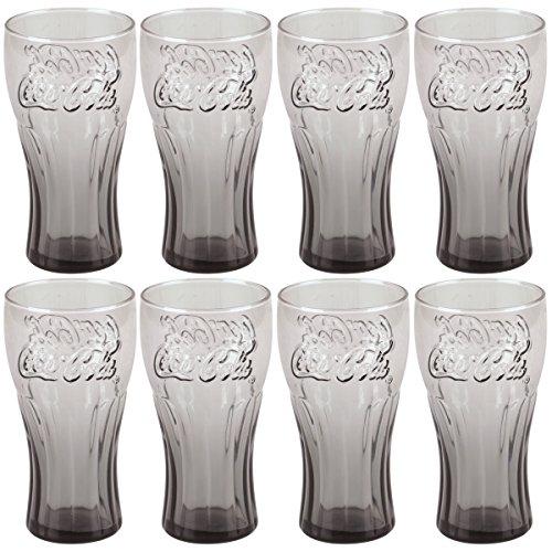 Coca Cola - Set Ensemble 8 Verres Gobelet Coca Cola Contour Relief 3D Rétro Vintage Fumé Noir 25cl