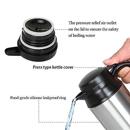 Qiilu-Elektrischer-Wasserkocher-Edelstahl-12v-750mL-Wasserkocher-120w-KFZ-Wasserkessel-mit-Zigarettenanznder-Heizbecher-Kessel-mit-Automatischer-Abschaltung-Silber