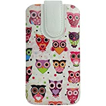 Emartbuy Faux Leather Slide in Pouch Case Cover with Magnetic Flap for BLU Studio Mega (17.5x10.4x1cm) - Multi Owls