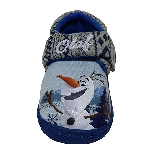 Disney Mädchen Jungen Frozen Olaf Elsa Anna Bootie Hausschuhe - Kind Größe 20-31 Blau/Grau