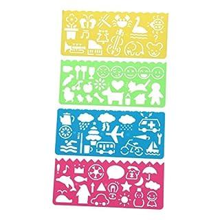 Multifunktion Lineal - TOOGOO(R)4 Stueck Multifunktion Kunststoff Vorlagen, Zeichnung, Lineal fuer Studenten Kinder