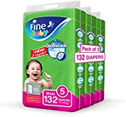 Fine Baby Double Lock, Size 5, Maxi, 11-18 kg, Three Jumbo Packs, 132 Diapers