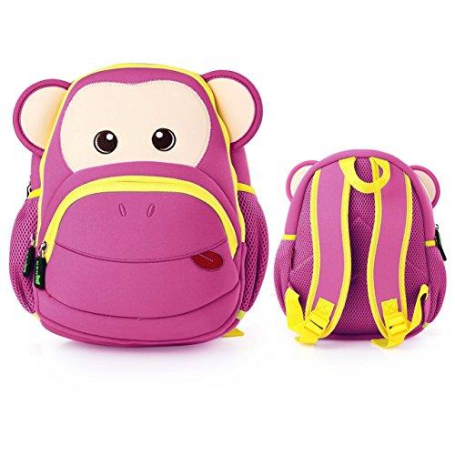 Itian Zaino Animali del Fumetto Carino Impermeabile Zoo Monkey Bambini delle Ragazze dei Ragazzi del Bambino del Zaino Allievo School Book Money Bag Zaini Casual Backpac (Rosa) - Zoo Blu Animali