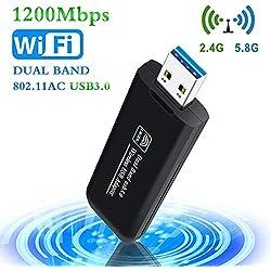 PiAEK USB WiFi Adaptateur 1200Mbps USB3.0 Clé WiFi Dongle Mini Wireless Adaptateur Dual Band 2.4 G/5.8 G 802.11 AC Compatible avec Windows 7/8/8.1/10/Vista/Linux/Mac OS