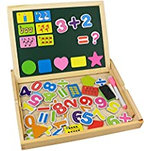 Tribe Puzzles en Bois Magnétique Jouets Nombre Mathématiques Educatif Jeu de Construction avec Tableau Noir Double Face pour Bambin Enfants Garcon Filles 3 4 5 Ans