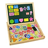 Wooden Writing Board Box Magnetic Number Jigsaw Puzzle Drawing Whiteboard Blackboard Easel Toy for Kids 3 4 5 Years Old