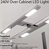 3x *240V Mains Powered* Over Cabinet LED Light Kit – Natural White Lighting Beam - Chrome Finish - Kitchen Cupboard Downlight – Bathroom Makeup Mirror Spotlight – Perfect for Wardrobe, Drawers & Units, Reading Light and More
