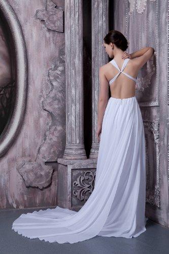 GEORGE BRIDE Reizvolle V-Ausschnitt Rueckenfrei Chiffon Brautkleid / Abendkleid Brautkleider Hochzeitskleider Weiß