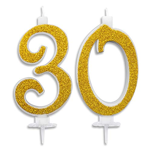 CartaIn Net Velas Maxi de 30 años para Tarta de cumpleaños de 30 años, decoración de Velas de cumpleaños, Tarta de 30 cumpleaños, Fiesta temática, Altura 13 cm, Purpurina Azul o Dorado Dorado