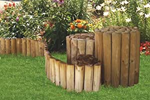 Bordure demi rondins 6x20x250 cm pour cl turer des plates for Bordure jardin demi rondin bois