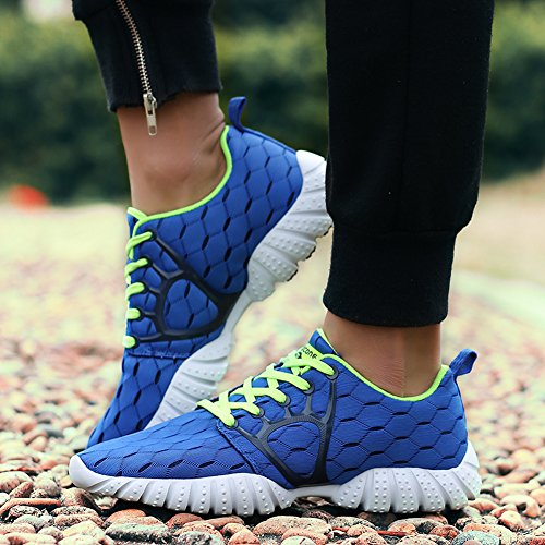 Gomnear Fonctionnement Chaussures Poids léger Hommes Antidérapant Lacer Respirant Athlétique Mode sport Aptitude Gym En marchant Formateurs bleu royal