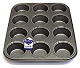 12 Hole Deep Muffin Pan / Tin Baking Tray with Teflon ®™ Non Stick by Lets Cook