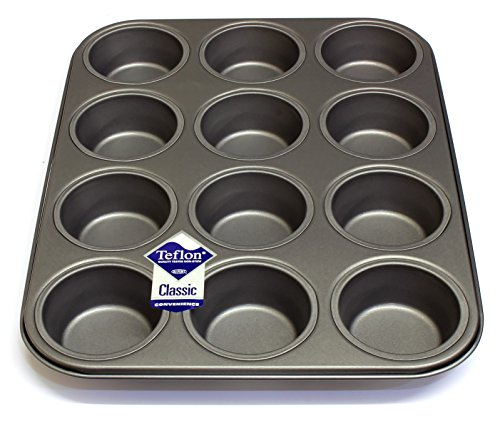 12 Hole Deep Muffin Pan / Tin Baking Tray with Teflon Non Stick by Lets Cook Cookware