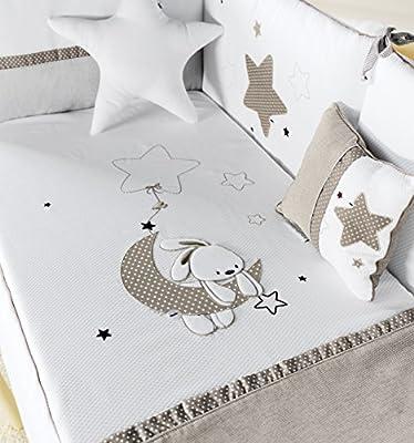Pirulos 210132 - Edredón, protector y cojín, diseño luna, 62 x 125 cm, color blanco y taupe- Danielstore