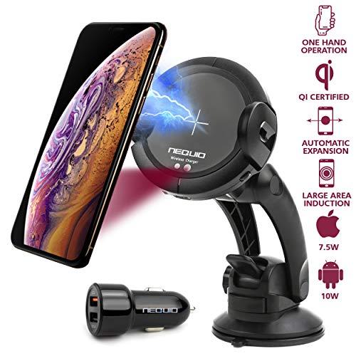 Soporte Movil Cargador Inalámbrico Rapido para Coche - Salpicadero, Rejilla de Ventilación o Parabrisas para iPhone XS MAX/X/XR/8 Plus Samsung Galaxy Note 9/S10/S9/S8/S7 Y para otris Smartphones Qi