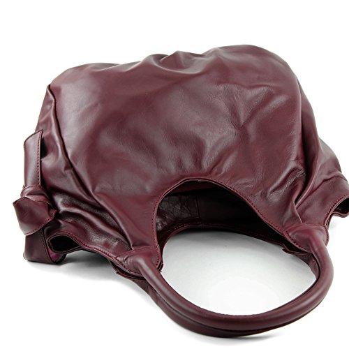 Moda de - tappo borsa donna a spalla borsa Custodia in pelle in nappa IT28 rosso bordeaux