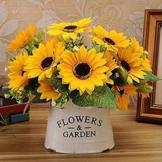 Uteruik Ramo de Flores Artificiales de Seda con 7 Cabezas de Girasol para decoración del hogar, 1 Unidad