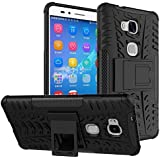 For Huawei Honor 5X : MACC Defender Series Dual Layer Hybrid TPU + PC Kickstand Case Cover for Huawei Honor 5X - Black
