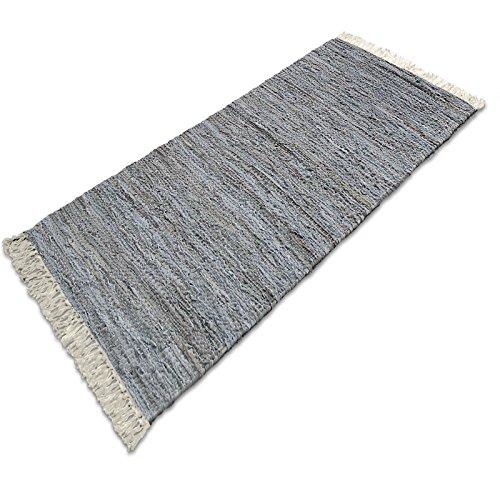 Lederteppich Chelsea | handgewebter Teppich aus Recycling Leder | viele Größen | silber | 140x200 cm Gewebte Leder-teppich