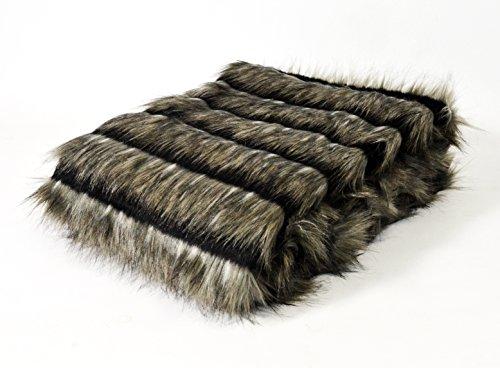 Homemaison–Manta imitación Piel Pelo Largo, acrílico, Topo, 170x 130cm