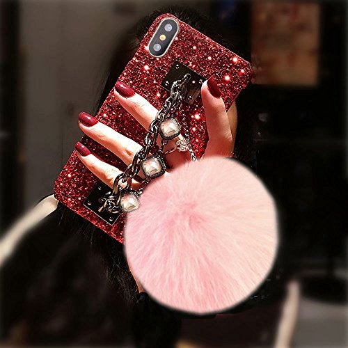 Bling Glitter Luxus Edelstein Armband Shinny Diamant Kette Halter mit Kaninchen Fell Pom Plüsch Ball für Mädchen Hard Shell Case für Apple iPhone 5/5S, Red Shell-Pink