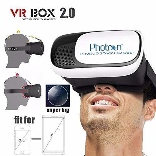 Photron VR BOX 2.0 Virtual Reality Glasses, 2017 3D VR Headset for SmartPhones - iPhone 5S, SE, 6, 6S, 7, 7 Plus, Samsung Galaxy, OnePlus, Redmi, Moto, LG, Sony, Coolpad, HTC, etc
