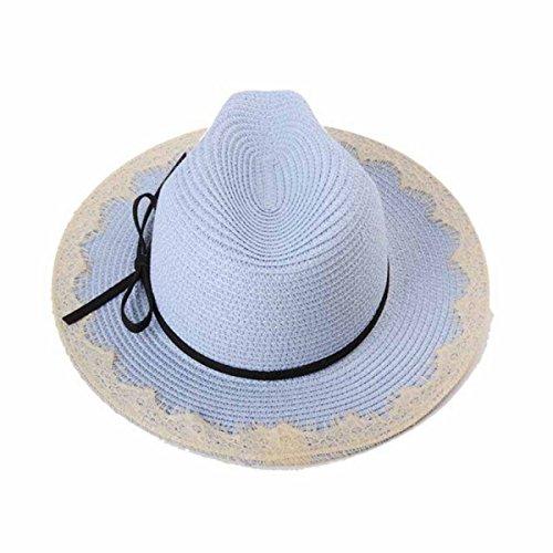 2PCS Chapeau De Jazz Dame été Un Grand Chapeau De Paille à Larges Bords Le Shopping Chapeau Casquette De Vacances LightBlue