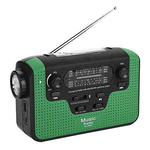 Solar Radio,Tragbar FM/AM/SW Kurbelradio Solarradio Wiederaufladbare Dynamo Radio mit LED Taschenlampe,Solar Handkurbelradio Handy Ladegerät Radio,Unterstützung Freisprecheinrichtung/TF-Karte(Grün)