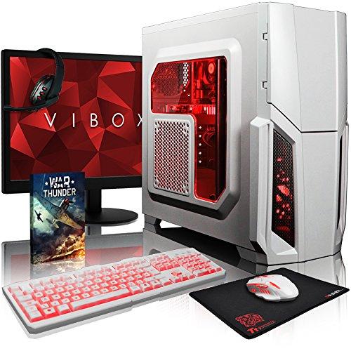 VIBOX Pyro GL7TX-469 Pack PC Gamer - 4,5GHz Intel i7 Quad Core CPU, GTX 1080 Ti, VR prêt, Ordinateur PC de Bureau Gaming paquet de jeux, avec Écran, Éclairage Interne Rouge (4,2GHz (4,5GHz Turbo) Processeur CPU Quad 4-Core Intel i7 7700K Kabylake Ultra Rapide, Carte Graphique Haute Performance Nvidia GeForce GTX 1080 Ti 11 Go, 8 Go Mémoire RAM DDR4 2133MHz Grande Vitesse, Disque Dur Sata III 7200rpm 1 To (1000 Go), EVGA GQ 750w PSU, Boîtier Storm Blanc, Pas de Système d'Exploitation Windows)