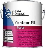 Sigma Contour PU Gloss Kratzfester Polyurethan-Alkydharz-Basis Premium Buntlack Hochglänzend Weiß 1 L
