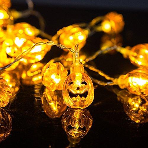 ELENKER 20 LED Kürbis Lichterkette für Halloween Weihnachten Warmweiß, (Meter Halloween)