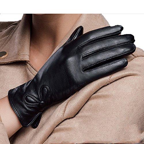 e Lady Warm Plus Cashmere Car Handschuhe,Schwarz,Groß (Car-hop-mädchen)